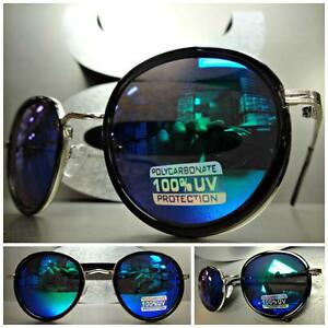 Mens or Women VINTAGE RETRO Style SUNGLASSES Black Silver Frame Blue Mirror Lens