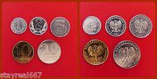 Poland Złotych SET of 5 UNC COINS 1 2 5 10 20 ZLOTYCH 1990