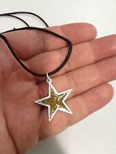 PENDANT ASTRAL PEWTER GOLD AND SILVER COLOURED STAR NECKLACE HAND CRAFTED UK NEW