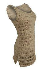 Ralph Lauren $135 NWT Tan Shell Lace Knit Stitch Tank NEW! Women's LARGE ANB