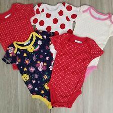 New Vitamins Baby Girl Set of 5 bodysuits 3 M short sleeves Polka dot Pink Nwot