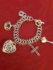 GUESS Womens Charm Bracelet Silver Tone Links - Hearts, Cross, Crown, Lock & key