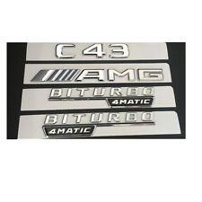 Chrome C43 AMG BITURBO 4MATIC Trunk Fender Badges Emblems for Mercedes Benz