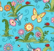 CLOSEOUT!  Moda Deb Strain - Meadow Friends Pond Blue Butterflies