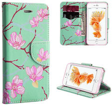 For iPhone 7 - Mint / Pink Japanese Blossoms Card Wallet Diary Pouch Case Cover