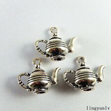 12pcs Vintage Silver Alloy Teapot Charms Pendant Crafts Jewelry Making 51175