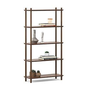 5 Tier Tall Bookshelf Case in Light Walnut Wood Mid-Century Scandinavian Design