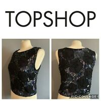 Women's Size 8 🖤 Gorgeous Topshop Black Sequin Sleeveless Evening Blouse Top