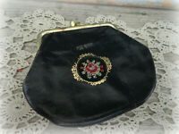 vintage leather change coin purse with embroidered detail kisslock Austria