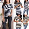 Women Pregnancy Summer Top Maternity Striped Short Sleeve T Shirt Nursing Blouse