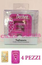 SET 4 TAGLIAPASTA RETTANGOLARE DECORA IN PLASTICA 4MISURE X BISCOTTI CAKE DESIGN