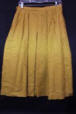 "Vintage JAEGER Mustard Yellow ""Diamonds"" Pleated Wool Blend Skirt Womens 14-B48"