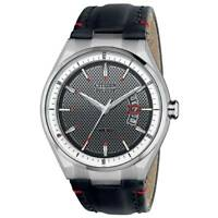 Citizen Eco-Drive Mens AW1130-04A Dress Stainless Steel Black Leather Date Watch