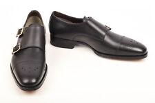 Tom Ford black 9 leather cap toe monk strap buckle loafer UK8 shoe NEW $1990