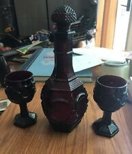 3 Vintage Avon Cape Cod Collection Ruby Red Wine Glasses W/Decanter & Stopper