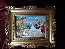 Bild mit Rahmen Christus Geburt Helige Nacht Josef Maria Krippe Ikone 27x33 gold