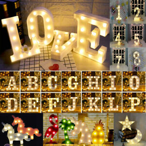LED Light Up Alphabet Letter Number Lights Standing Wedding Party Birthday Sign