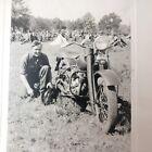 Vintage+Snapshot+B%2FW+Photograph+Man+with+Motorcycle+at+Camp