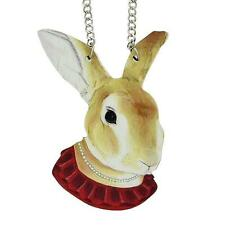 LARGE FUN PENDANT NECKLACE - HARE WITH PEARL NECKLACE - FREE UK P&P.......CG0579