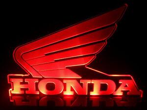 Honda Wings Japan Motocycles Logo LED Light Table top Man cave room Garage Signs