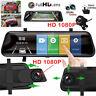 10'' HD 1080P Dual Lens Car DVR Rearview Mirror Dash Cam Recorder + Rear Camera
