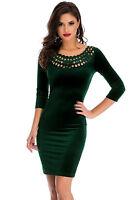 New Ladies Dark Green Hollow Out Round Neck Sleeved Velvet Dress Size UK 8-10