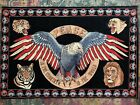 Vintage Eagle Tiger Lion Peace America Tapestry made in turkey 100% cotton 58x39