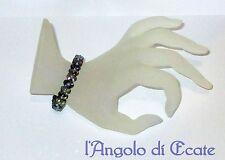 Idea regalo BRACCIALE artigianale perline cristalli Swarovski nero/grigio