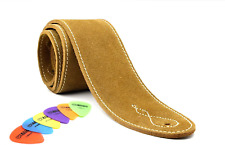 Soft Suede Wide Guitar Strap with Cream Stitching (Free Plectrums) (Tan)