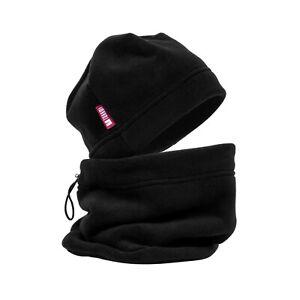 Adjustable Fleece Neck Warmer Balaclava With Hat Winter Set Polar Black Beanie