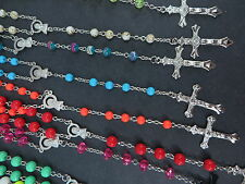 wholesale lot 20pc religious jewelry Crucifix cross rosary necklace acrylic bead