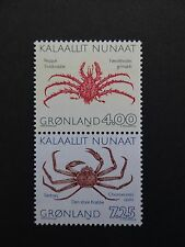 Greenland Pair Crabs 4.00 kr & 7.25 kr with corrected inscription  (opilio) MNH