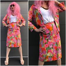 Vintage 90s Two Piece Bright Floral Skirt & Jacket Suit Xs Spring Business Retro