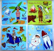 SABINE STEENKEN*Postkarte*Kinder Geburtstag*Pirat*Indianer*Ritter*Astron.14x14cm