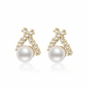 Women's White Color Earrings Gold Filled Stud Natural Pearl Anniversary Jewelry