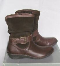 NEW John Lewis Ladies Brown Suede & Leather Ankle Wedge Boots Size 3