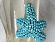 Large NOS Kenneth Jay Lane KJL Turquoise Bead Encrusted Starfish Ring  Size 5-10