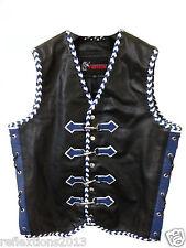 Motorcycle Vest Leather Biker Rider Triple Braid Motorbike Designer Leather Vest