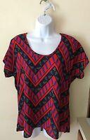 Women's Fun And Flirt Red Geometric Short Sleeve Top Shirt Gold Zipper Size M