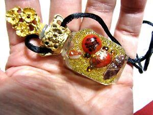 Adrian Designs Italian Art Glass Perfume Bottle Cord Necklace Original Box Empty
