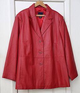 Venezia Woman's size 22/24 winter red leather coat NWOT