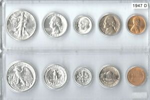 1947-D US Silver mint set - 5 Choice BU coins in a Whitman plastic holder