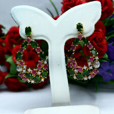 NATURAL CHROME DIOPSIDE RUBY & ZIRCON LONG EARRINGS 925 SILVER