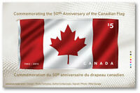 First stamp on FABRIC = DOUBLE SIDED SS = Canada's FLAG 50th Ann MNH Canada 2015