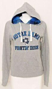 NEW Notre Dame Fighting Irish Colosseum Gray Pockets Hoodie Sweatshirt Women's M