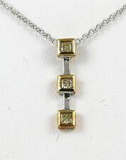 "Diamond Drop Pendant 18k T.T w/ 0.18ct Fancy Yellow Color Diamond ""CLOSE-OUT"""