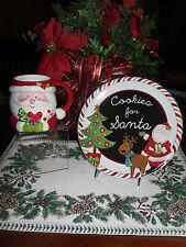 """COOKIES FOR SANTA 9"""" PLATE AND MATCHING MILK COFFEE MUG CHRISTMAS NEW"""