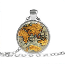 Vintage Style Map Gold Map In Style Tibet silver pendant chain Necklace