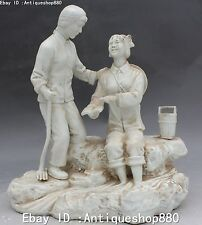 """13"""" Chinese Wucai Porcelain Two Belle Girl Beauty Hold Book Rake Barrel Statue"""