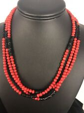 """Native American Navajo Sterling Silver Coral Necklace Pendant 20"""" Gift 3 Strand"""